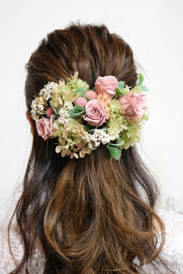 小花たくさんのピンク系アンティークの髪飾り